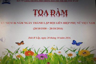 Buổi Tọa đàm kỷ niệm ngày thành lập Hội liên hiệp phụ nữ Việt Nam 20/10